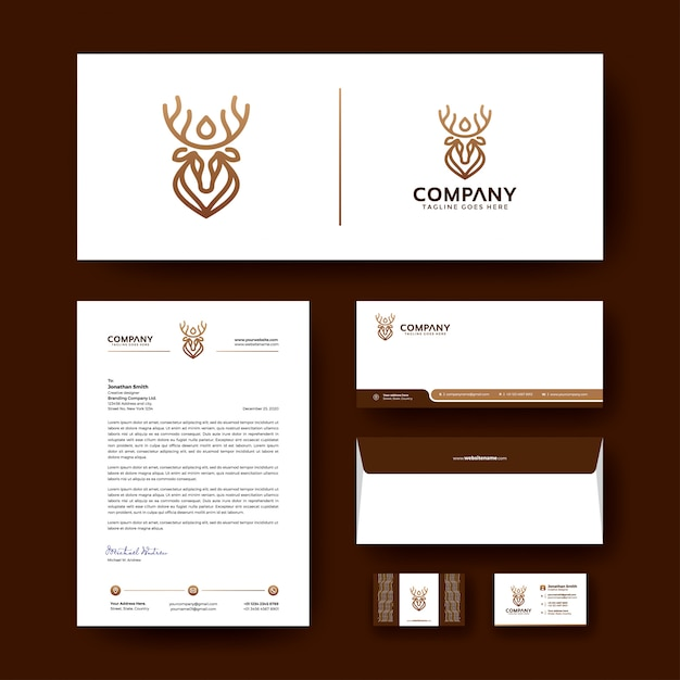 Sjabloon voor zakelijke bedrijfs briefpapier met luxe logo. Premium Vector