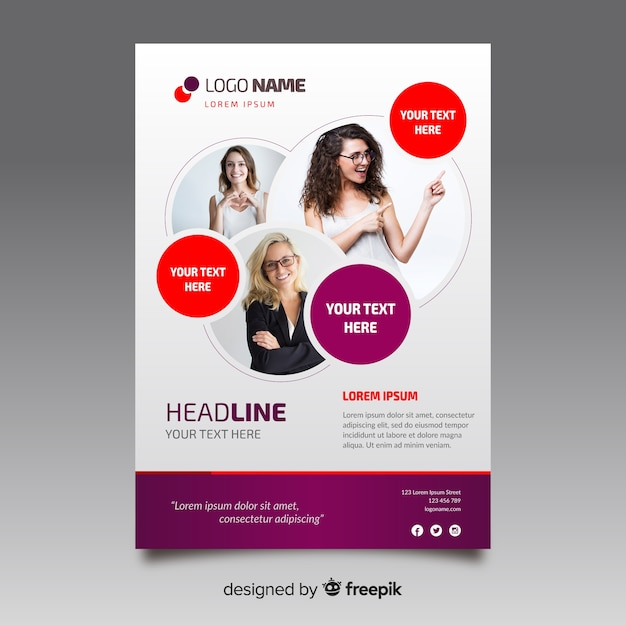 Sjabloon voor zakelijke flyer met mozaïek foto's Gratis Vector