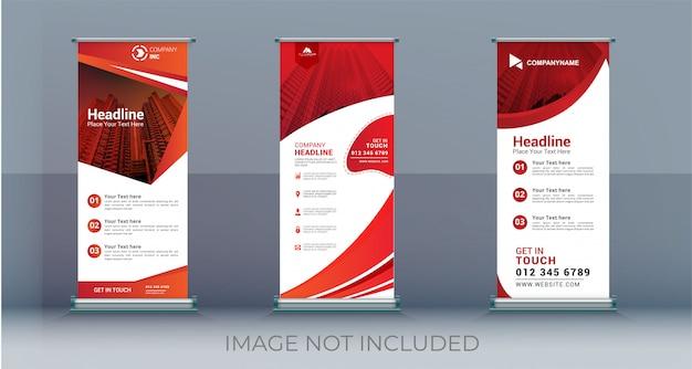 Sjabloon voor zakelijke roll-up instellen staande banner Premium Vector