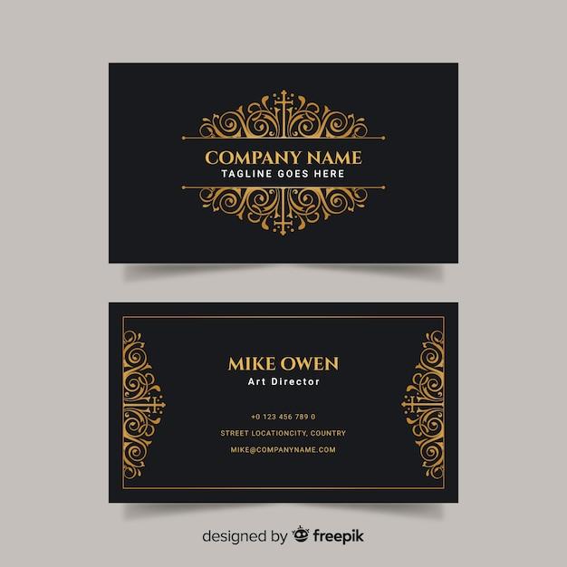 Sjabloon voor zwart en gouden visitekaartjes Gratis Vector