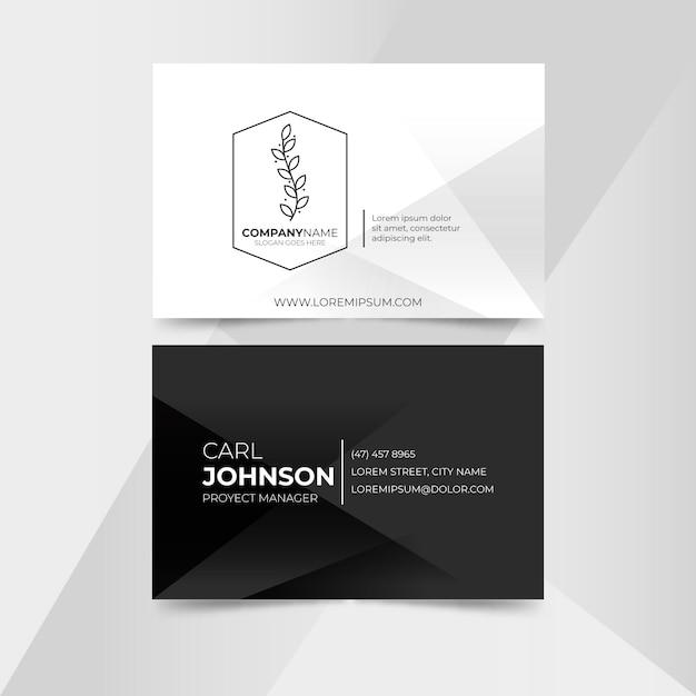 Sjabloon voor zwart-wit visitekaartjes Premium Vector