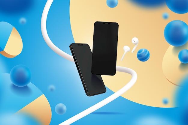 Sjabloon weergeven met smartphones Gratis Vector