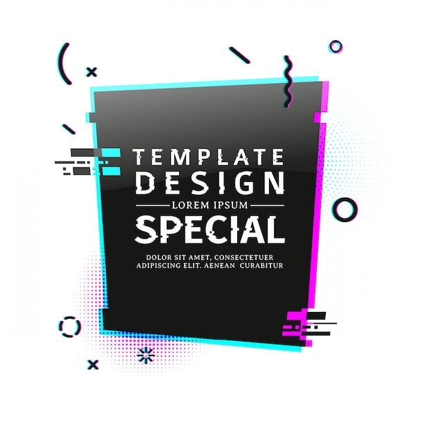 Sjabloonbanner met glitcheffect. verticale zwarte rechthoek lay-out poster met gebroken deeltjes. banner met pixel grafisch en geometrisch crashelement. Premium Vector