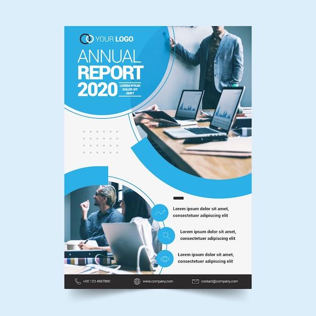 Sjabloonconcept voor jaarverslag Gratis Vector