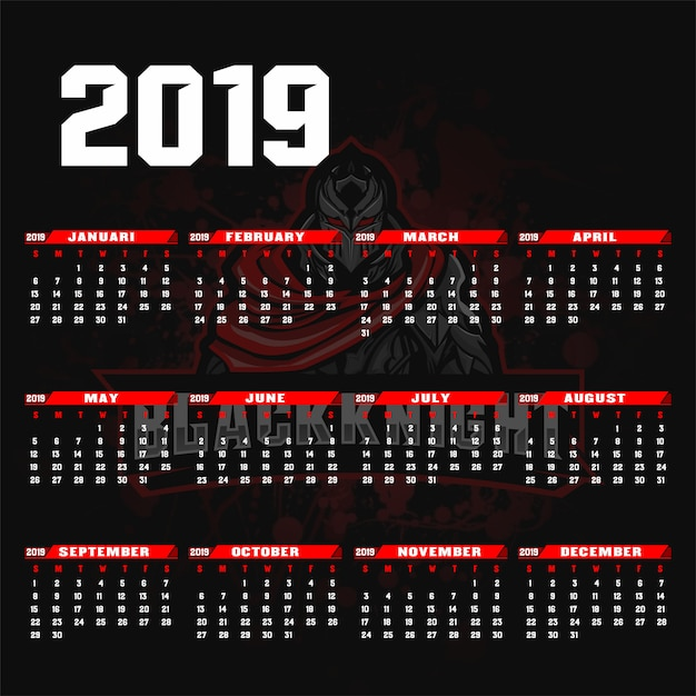 Sjabloonkalender 2019 esport / sport achtergrondstijl. Premium Vector