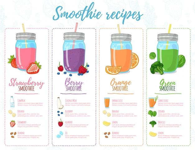 Sjabloonontwerp banners, brochures, menu's, flyers smoothie recepten. ontwerpmenu met recepten en ingrediënten voor een smoothie. recepten van cocktails gemaakt van fruit, groenten en kruiden. Premium Vector