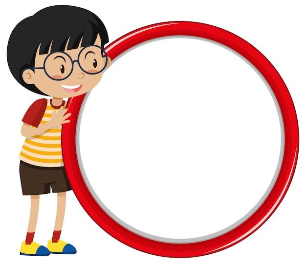Sjabloonontwerp spandoek met jongen en rode cirkel Gratis Vector