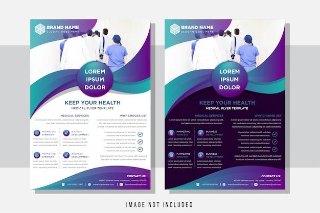 Sjabloonontwerp voor brochure. horizontale lay-out van moderne flyer met blauw paars kleurverloop gebruik formaat a4. Premium Vector