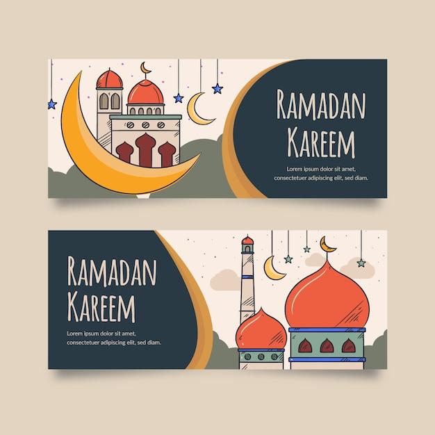 Sjabloonthema handgetekende ramadan banner Gratis Vector