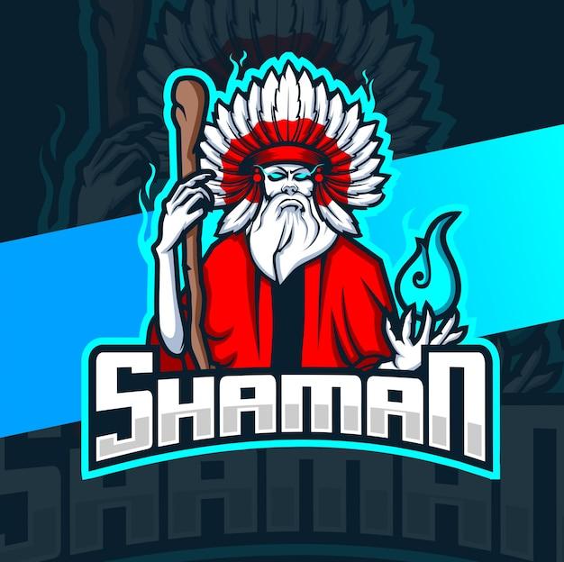 Sjamaan heks mascotte esport logo Premium Vector