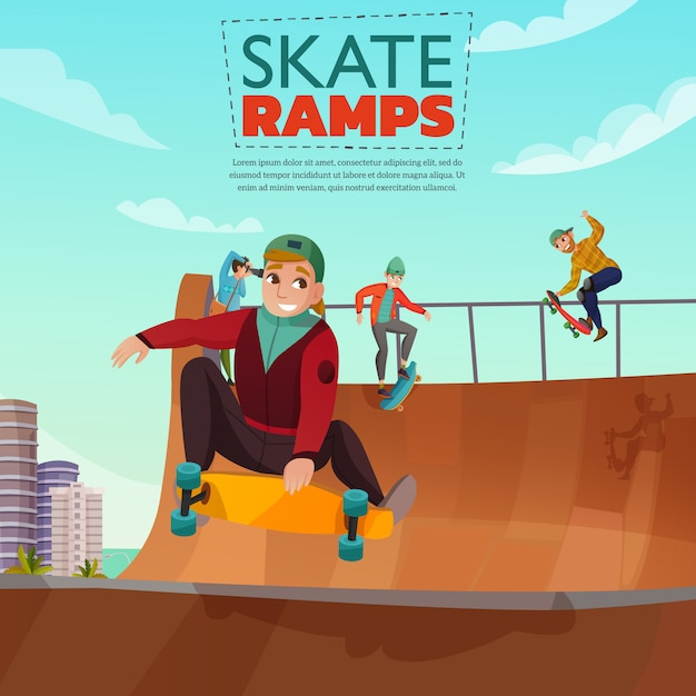 Skate oprit cartoon afbeelding Gratis Vector