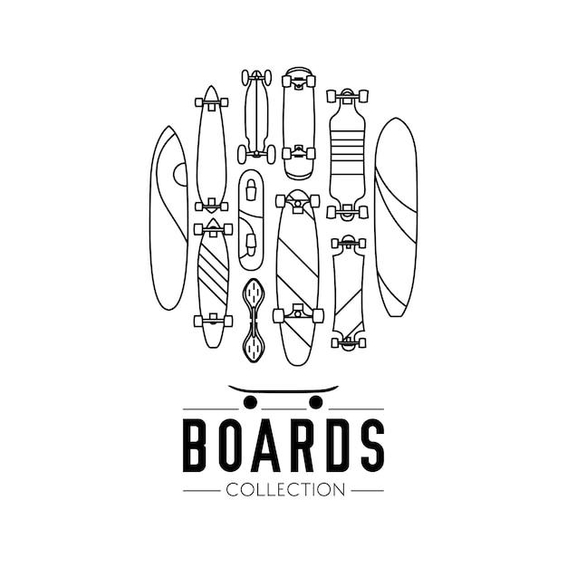 Skateboard en skateboarden collectie achtergrond met skateboards gelegen op een cirkel Gratis Vector