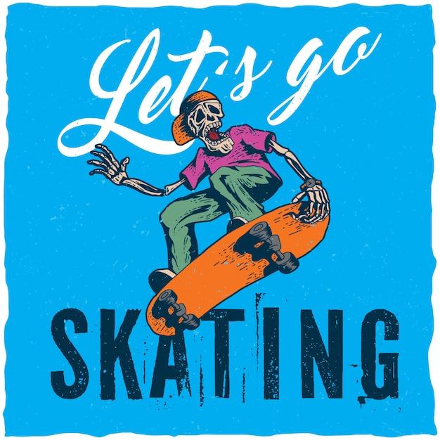 Skateboard t-shirt labelontwerp met illustratie van skeleton skateboarden. Gratis Vector