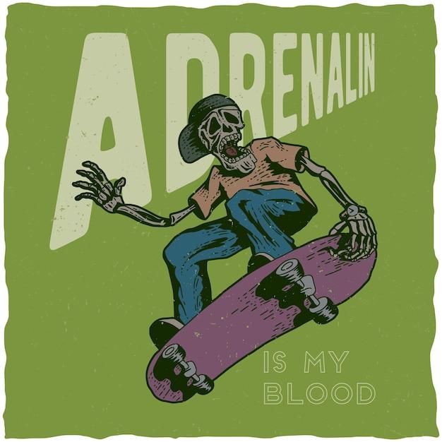 Skateboard t-shirt ontwerp met illustratie van skelet spelen skateboard. Gratis Vector