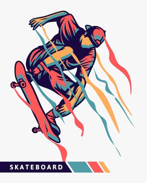 Skateboarder kleurrijke illustratie met bewegingseffect Premium Vector