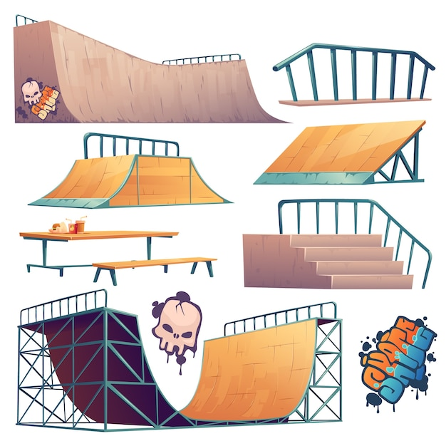 Skatepark of rollerdrome-constructies voor skateboard-springstunts Gratis Vector