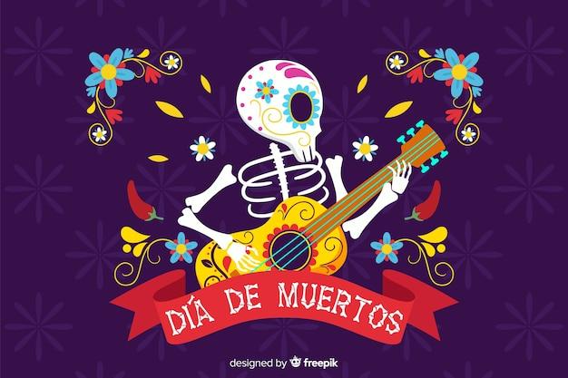 Skelet dat de achtergrond van gitaar vlakke día de muertos speelt Gratis Vector