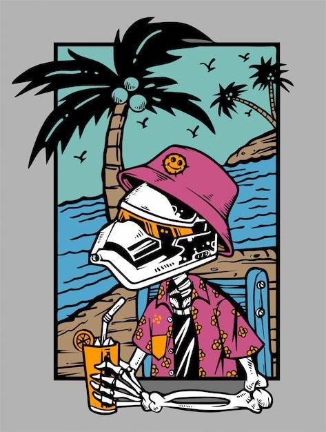 Skelet koelen met cocktail op het strand Premium Vector