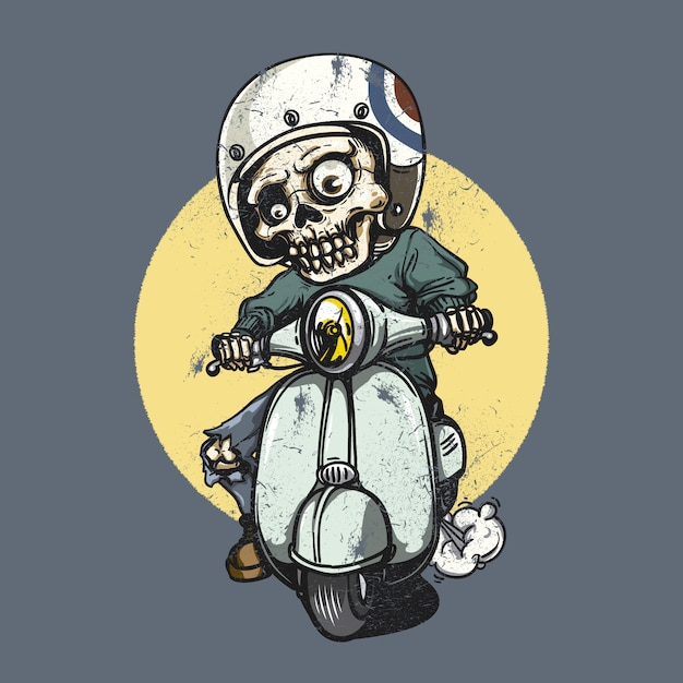 Skelet met een motorfiets Gratis Vector