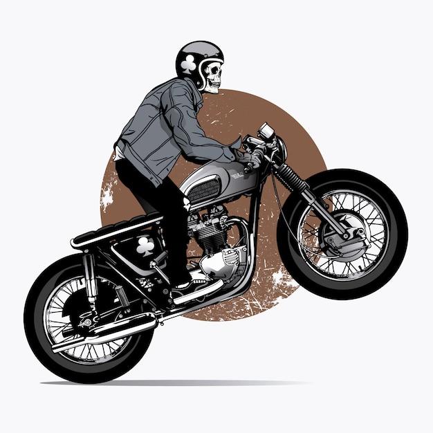 Skelet richt een motorfiets op Gratis Vector