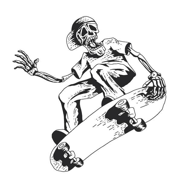 Skelet skateboard spelen Gratis Vector