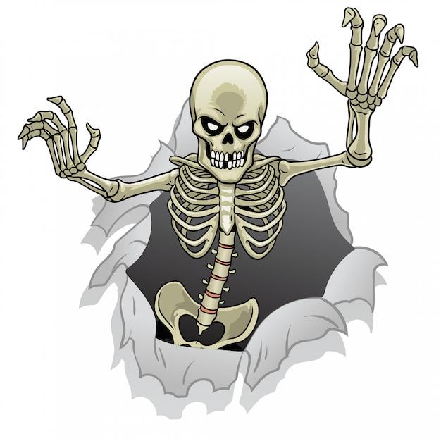 Skelet stripfiguur uit het gebroken papier gat Premium Vector