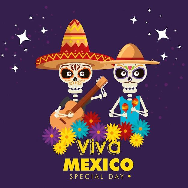 Skeletten dragen hoed met gitaar en maracas Gratis Vector