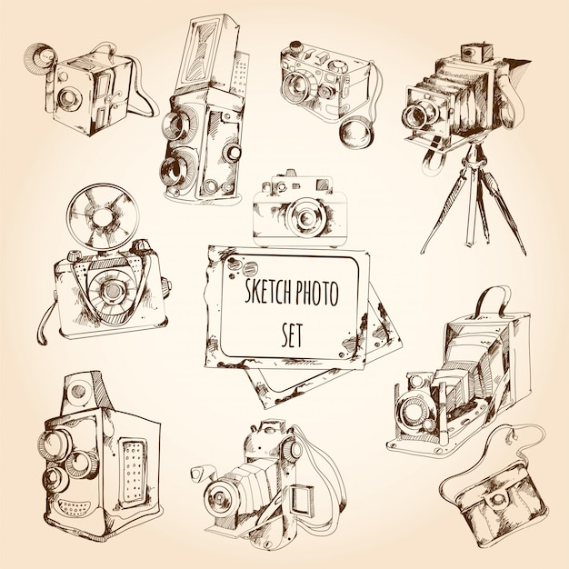 Sketch photo set Gratis Vector
