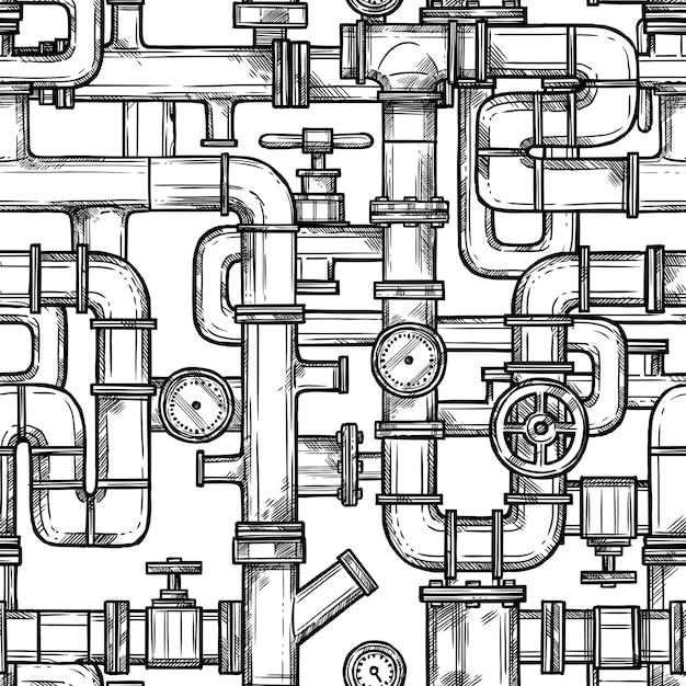 Sketch pipes system naadloos patroon Gratis Vector