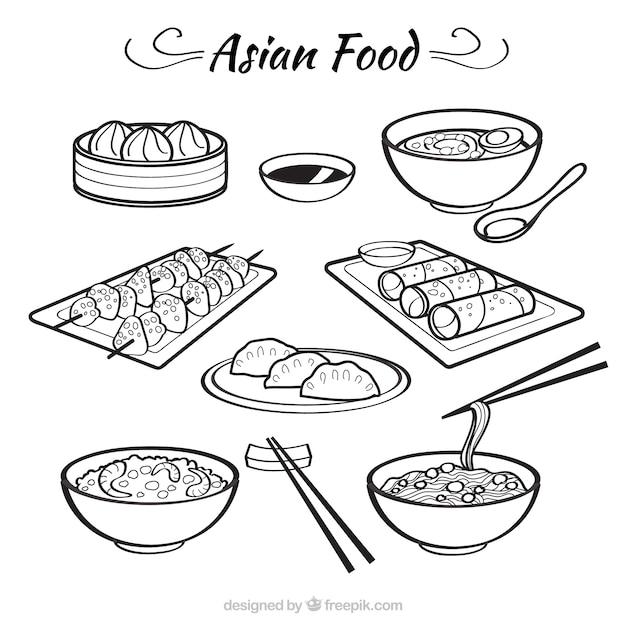 Sketches bolws met aziatische levensmiddelen Premium Vector