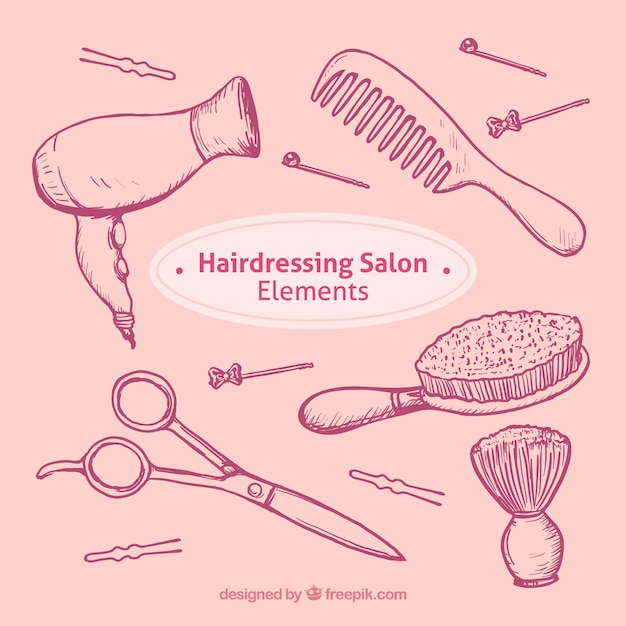 Sketches kapsalon objecten in te stellen Gratis Vector