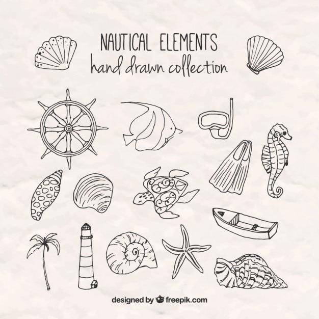 Sketches salor elementen Gratis Vector