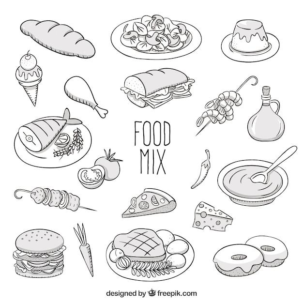 Sketchy voedsel mix Gratis Vector