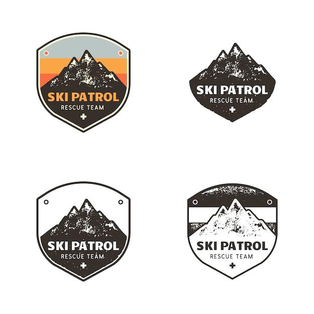 Ski club-logo's, patrol-badges-sjablonen met bergen reispleisters Premium Vector