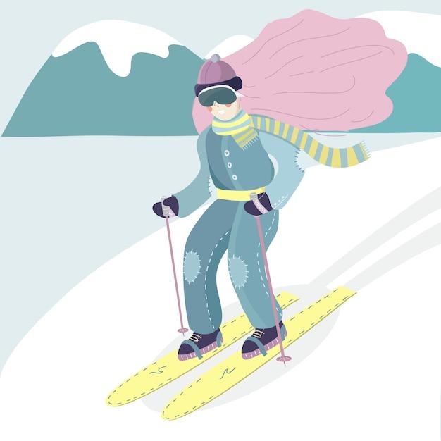 Ski meisje Premium Vector