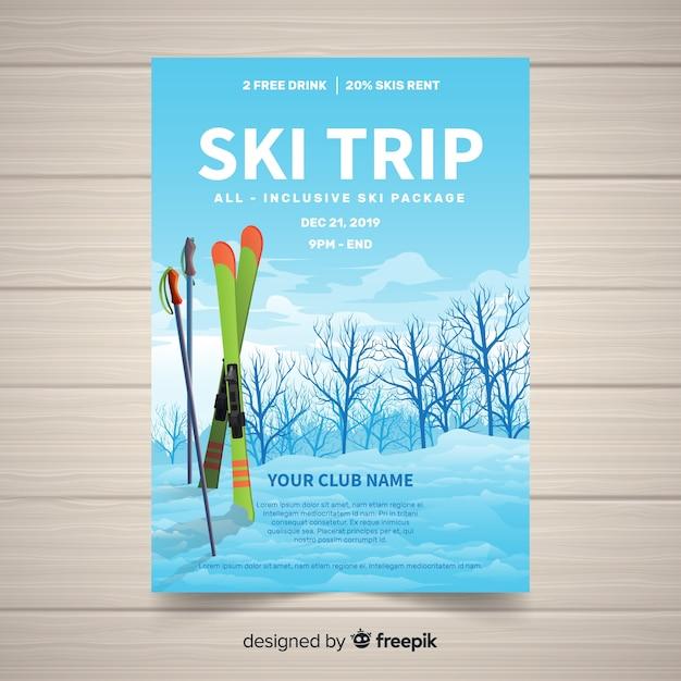 Ski-reisbanner Gratis Vector
