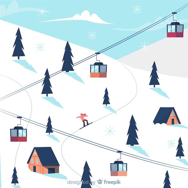 Ski station achtergrond Gratis Vector