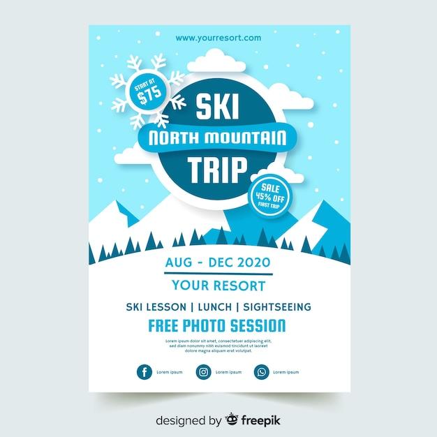 Ski trip flyer sjabloon Gratis Vector