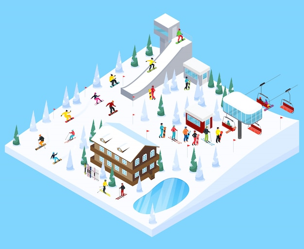 Ski village landschap element Gratis Vector