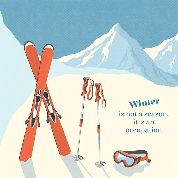 Ski winter berg landschap achtergrond retro poster Gratis Vector