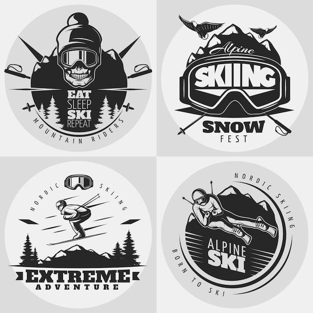 Skiën logo samenstelling Gratis Vector