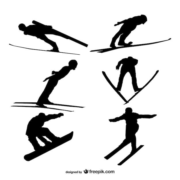 Skiën silhouetten Gratis Vector