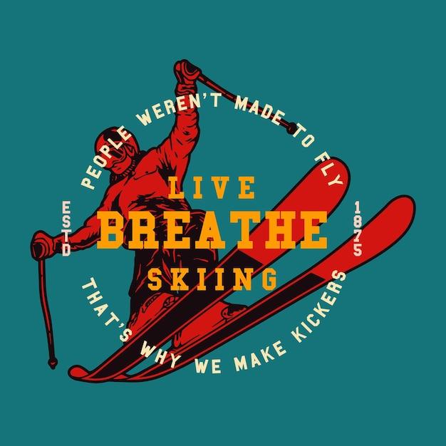 Skiën wintersport illustratie van man ski's Premium Vector