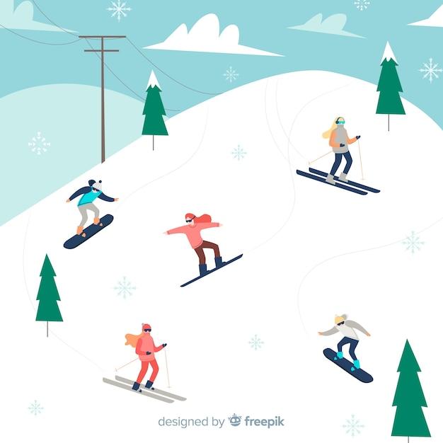 Skiërs achtergrond Gratis Vector