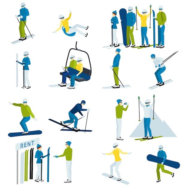Skigebied mensen pictogrammen instellen Gratis Vector