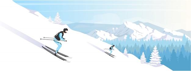 Skigebied vakantie egale kleur illustratie Premium Vector