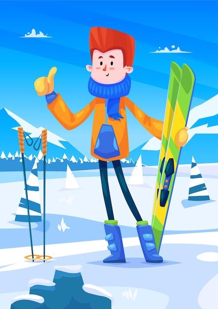 Skigebied vakanties. leuk skiërkarakter met ski's in handen. sneeuw achtergrond met bomen. platte vector stock illustratie. Premium Vector