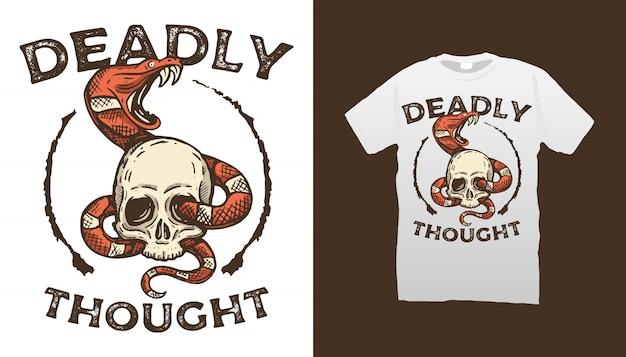 Skull and snake illustration tshirt design Premium Vector