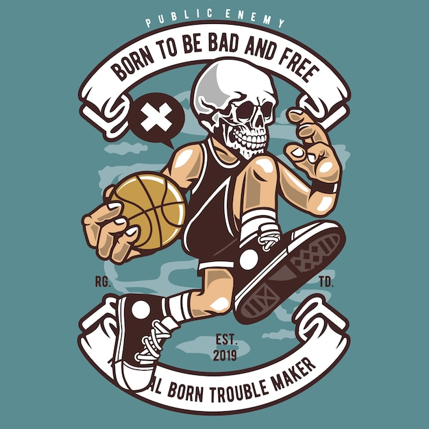 Skull basketball cartoon Premium Vector