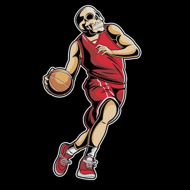 Skull basketball Premium Vector